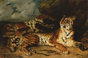 a-young-tiger-playing-with-its-mother delacroix